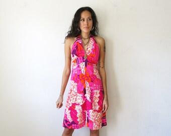 Tiki Dress / Neon Psychedelic Dress / 70s Halter Dress Sz XS