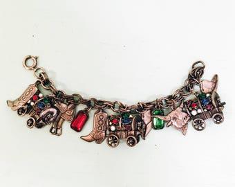 Vintage 1950s Stamped Brass Cowboy Western Charm Bracelet with Colorful Gems