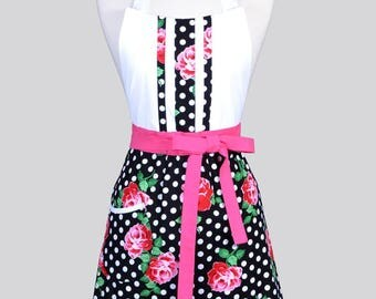 Blossom Womens Full Apron / Black White Polka Dot Pink Roses Retro Floral Mothers Day Cute Cooking Hostess Kitchen Apron with Pockets