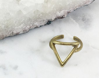 Brass Open Triangle Ring | Adjustable | R21617