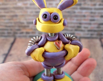 Robot Bunny Easter Mini Sculpture - Easter Geek Decor - Clay, Wire, Paint