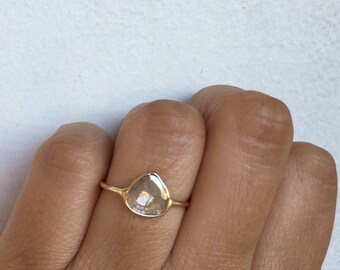 Diamond Slice Ring, Raw Diamond Ring, Raw Diamond Engagement Ring, Unique Engagement Ring, One of a Kind Engagement Ring, Diamond Slice, 14k