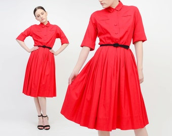 Vintage 50s Red Cotton Dress Pleated Full Skirt Shirt Waist Day Dress Rockabilly Retro Knee Length Midi Dress Extra Small XS S