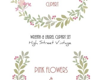 Instant Download, Wreaths and Laurels Clip Art, Spring Décor, Pink Berries & Flowers, Set of 2, 1 Wreath and 1 Laurel, DIY Arts and Crafts