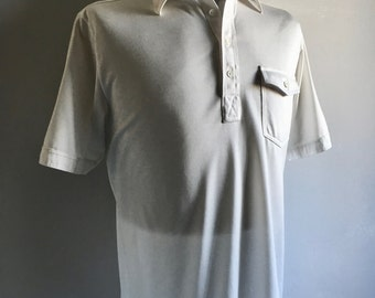 Vintage Men's 80's White Polo Shirt, Short Sleeve by Divots (L)