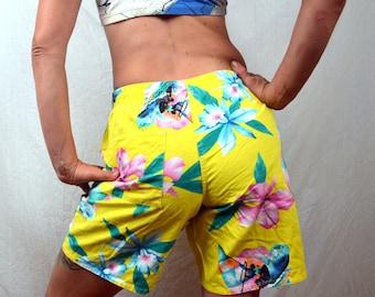 Vintage 80s Fun Sailboat Rainbow Floral Aloha Hawaiian Baggy Jams Shorts