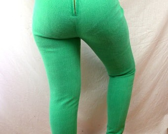 Vintage High Waisted Just USA 80s Bright Green Skinny Jeans