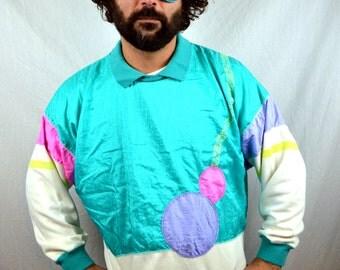 Vintage 80s NEON Windbreaker Geometric Jacket Pullover Sweatshirt