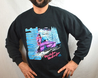 Vintage 1992 Wenatchee Washington Snowmobile Winter Sweatshirt