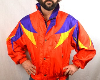 Vintage 80s 1980s Rainbow Ski Coat Jacket - Descente