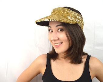 Vintage 80s 90s Gold Sparkle Sequin Hat Visor