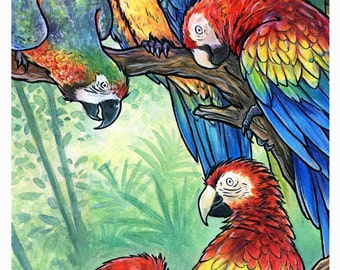 CLEARANCE - Art Print - A Parrot Party