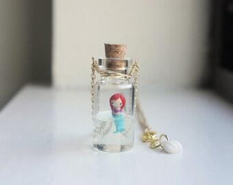 Gold Mermaid Necklace - mini glass bottle pendant, under the sea, tiny figurine, little mermaid jewelry, mermaid life