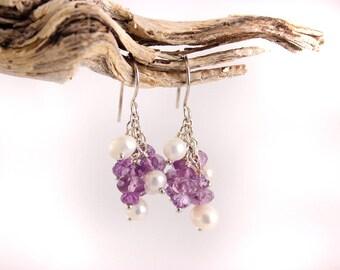 Amethyst and Pearl Cluster Earrings, Sterling Silver, Gemstone