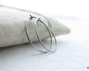 One Inch Hoop Earrings , Silver Hoop Earrings , Hammered Hoops , 1 Inch Hoops , Oxidized Sterling Silver Hoop Earrings