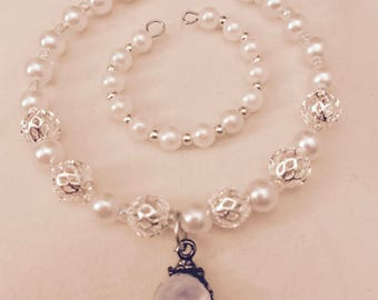 American Girl Sized Choker Necklace and Bracelet with White Pearls and Silver beads and a Charm