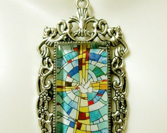 Holy spirit and cross pendant with chain - AP12-300