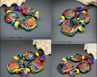 Michou Pascale Anderson - New York City Lights Part 2 -  Modern Glass Art - Lampwork bead set