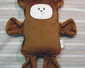 Plush Brown Bear - Stuffed Bear Pillow Plush - Spoonflower Bear - Minky Bear Lovie - Woodland Nursery - OOAK Bear - Handmade Simple Bear