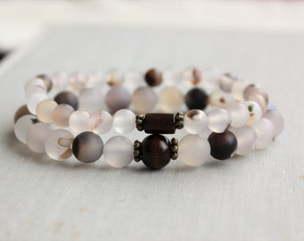 Natural Agate Beaded Stretch Bracelets. Gemstone Jewelry.