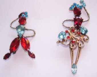 Signed SV French Sterling Dancer Multi Color Pr. Rhinestone Brooches Gold Tone Antique Jewelry