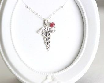 Nurse Graduation Necklace - Sterling Silver Caduceus Necklace - Nurse Gift- Doctor Nurse Necklace - Med School Graduation - Doctor Gift