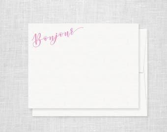 Bonjour Letterpress Stationery - Set of 6 Flat Notes - Hello