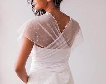 Tulle shoulder wrap, shoulder wrap, wedding wrap, detachable tulle straps, infinity wrap top, tulle top, tulle wrap top, bridal wrap top