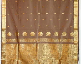 FREE SHIPPING! Vintage Brocade Sari Fabric, Brown, Approx 5 yards, India, Cloth, Ethnic, Boho, Gypsy, Hippie, Craft Supply, Saree