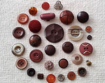 Vintage Brown Button Assortment - Set of 30 - B