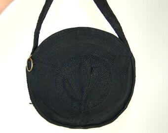 1940s purse cord handbag black art deco bag round purse
