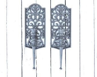 Vintage Gray Candle Sconces, Taper Candle Holders, Wall Decor, Syroco Style Candles, Cottage Chic, Rustic, Shabby, Candle Decor