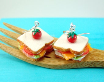 Sandwich Earrings // Ham and Cheese Dangly  Earrings or Clip Ons // Food Jewelry MADE TO ORDER