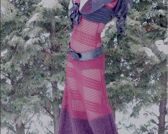 Dress - Steampunk - Burning Man - Hood - Long Red Dress with Hood - Bohemian - Floor Length Dress - Sexy - Red Lace Dress - Size X- Small
