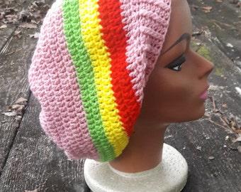 Pink Rasta reggae hippie slouch beanie hat