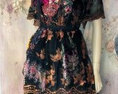 Autumn woods dress - fairytales inspired, bohemian romantic, altered couture,vintage textiles