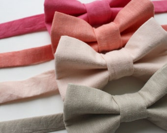 Little and Big Guy BOW TIE - Spring Easter Solids - PINK Tones (Newborn-Adult) - Baby Boy Toddler Teen Man- Tan Blush Coral Pink