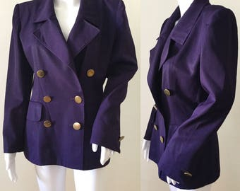 1980s Yves Saint Laurent Purple Wool Blazer with Gold Metal Buttons S