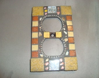 MOSAIC Electrical Outlet COVER , Wall Plate, Wall Art, beige, tan, silver gold, rust
