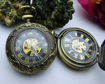 Premium Victorian Bronze Mechanical Pocket Watch with Watch Chain - Groomsmen Gift - Gift Sets - Men's Watch - Engravable - Item MPW49