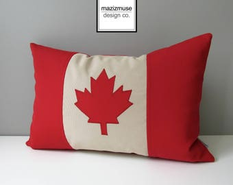 Canada Flag Outdoor Pillow Cover, Canadian Flag Sunbrella Pillow Cover, Maple Leaf Red Beige Decorative Pillow Case, Canada's 150th Birthday
