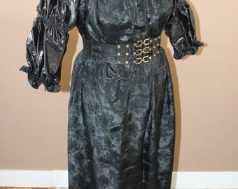 Black Jacquard Full Chemise  Renaissance Costume Dress Chemise Medieval Peasant Shirt