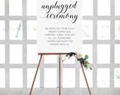 Unplugged Ceremony Sign, PRINTABLE Unplugged Wedding Sign, Turn Your Cell Phone Off, No Camera Wedding Sign, No Photos Ceremony, Alejandra