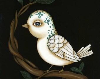 El Pajaro Original Art Giclee fine art print 8x10 Loteria The Bird