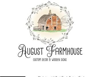 Barn Logo, Premade Logo - Premade Watercolor Logo, Barn Logo, Farmhouse Logo,Rustic Logo, Watercolour Logo, Business Logo, Farm Logo