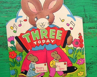 Vintage 30s 40s Third Birthday Card Age 3 Three Years Children's Greetings Card Nursery Art 1930s 1940s Rabbit Concertina Musician UNUSED