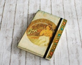 CUSTOM ORDER for Elisa - Decoupaged Journal with Mucha's art and elastic closure