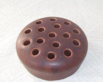 Art Pottery Brown 16 Hole Ceramic Flower Frog, Garden Flower Holder, Vintage Flower Frog Holder, Steammed Flower Holder,