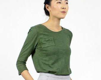 Long sleeve Bow Pocket Tshirt / Organic cotton & Bamboo t-shirt / Moss Green fall fashion / eco basics