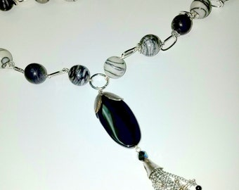 Web Jasper Long Necklace